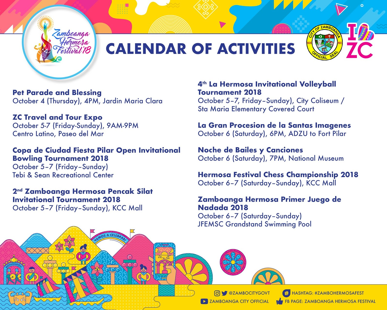 zamboanga hermosa festival 2018 calendar of activities